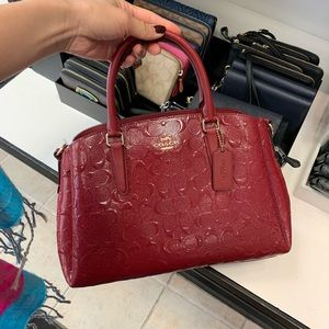 Coach Sage Carryall Signature Leather Cherry Red